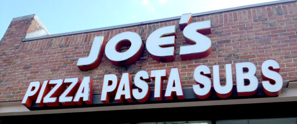 Joe's Pizza Pasta and Subs Sign